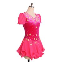 Wholesale yellow children s dresses for sale - Good Quality Designer Handmade Flowers Little Queen Competition Dress On Ice Sleeveless Children Adult Dress Hot Selling