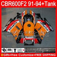 Wholesale Honda Cbr 1992 - 8 Gifts 23 Colors For HONDA CBR600F2 91 92 93 94 CBR600RR FS 1HM2 CBR 600F2 600 F2 CBR600 F2 1991 1992 1993 1994 Fairing Repsol Orange black