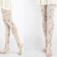 Wholesale Pantyhose 3d - Wholesale-3D Pattern Clock Sweet Harajuku Fashion Tights Women's Printed Pantyhose