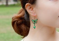 Wholesale Green Jade Butterfly Earrings - National earrings,Ancient bronze butterfly natural jade medullary earrings