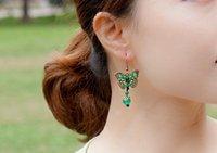 Wholesale Green Jade Butterfly Earrings - National earrings,Ancient bronze butterfly natural jade medullary earrings