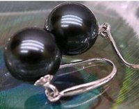 Wholesale Earrings South Sea Pearl Necklaces - PERFECT ROUND BLACK AAA 10-11MM SOUTH SEA PEARL EARRING 14K