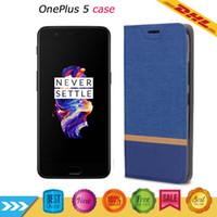 Wholesale Cheap Flip Phones Cases - Oneplus 5 case 1+5 Cell Phone Coners Oneplus five Flip leather case Canvas texture Cheap wholesale With Retail Box