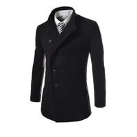 Wholesale Wool Jacket Warm Coat Men - Winter Autumn Men Warm Slim Jackets Long Sleeve Single-breasted Outerwear Coats Wool Coat Gray Black Plus Size M-3XL