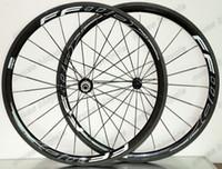 Wholesale light 38mm clincher online - mm depth mm width clincher tubular carbon wheelset C full carbon road bike wheels Ultra light U shape rims