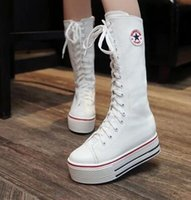 Wholesale White Long Boots Women - Spring autumn new long canvas shoes women boots white high side zipper casual boots tied with thick shoes