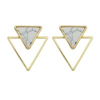 Wholesale Turquoise Statement Earrings - Punk Rock Style White Turquoise Marble Stud Earrings For Women Gold Palted Triangle Square Circular Statement Earrings