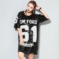 Wholesale Shining Woman Shorts - New Arrival Women Sequin Dress Bling Bling Sequined Shining Sexy Club Punk Dress Casual Tom Molly Straight Hip Hop Dress