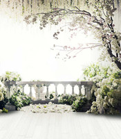 Wholesale Wallpaper Photography Backgrounds - White Flower Blossoms Tree Balcony Wedding Photography Backdrops Wood Floor Stone Fence Children Kid Studio Background Photo Shoot Wallpaper