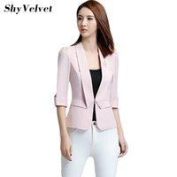 Wholesale Korean Style Ladies Blazer - Korean Style Autumn New Office Lady Blazer Women Business Suit Jacket Three Quarter Sleeve Female Short Slim Blazers
