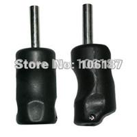 Wholesale Plastic Grip Tattoo - Wholesale-5pcs lot black plastic tattoo grips free shipping with back stem