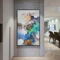 ingrosso paesaggio pitture a olio cinese-Nuovo cinese pittura a olio di paesaggio su tela HD stampa immagine di arte della parete Home Decor soggiorno dipinti di arte moderna Decor Unframed