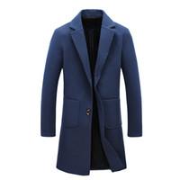 Wholesale trench coat big man - Wholesale- 2017 winter new style Men's fashion trench coat Men high quality jackets blazers Men's leisure windbreaker big size M-5XL