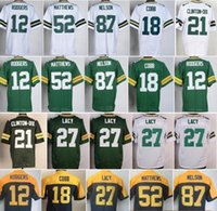 Wholesale Mens 87 - Best Quality Mens 12 Aaron Rodgers Jersey 21 Ha Ha Clinton-Dix 27 Eddie Lacy 52 Clay Matthews 87 Jordy Nelson Green White Navy Yellow Jersey