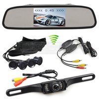 Wholesale car video mirror - Wireless Video Parking Radar 4 Sensors 4.3inch Car Monitor Mirror Monitor + IR Rear View Car Camera