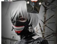 Wholesale leather half face masks online - DHL cm Anime Cosplay Tokyo Ghoul Kaneki Ken Mask Adjustable Zipper Masks PU Leather Mask Helloween