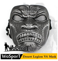 Wholesale Cs Games - popular WoSporT Desert Legion V6 Mask Outdoor CS Game Military Training Paintball Protective Steel Net Training Mask ,Cheap Camouflage Color