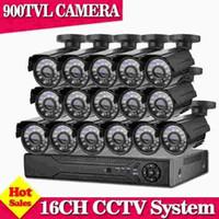 камера безопасности 16ch оптовых-Главная 16CH CCTV Security Camera System 16 channel DVR 900TVL Открытый день ночь ИК-камера DIY Kit цвет системы видеонаблюдения