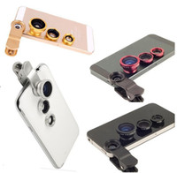 Wholesale Magnetic Wide Angle Macro Lens - Magnetic 3 in 1 Wide Angle Macro lens 180 Fish Eye camera Kit Set for iPhone 4 5 for HTC ipad Samsung