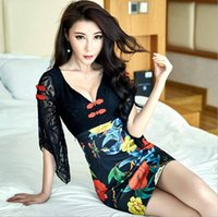 Wholesale Cheongsam Dress Sex - 2017 couture autumn Dresses new nightcy Chinese cheongsam printed lace deep v-neck dresslub outfit sex