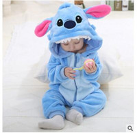 Wholesale Cat Jumpsuits - Promotion Lovely Animal Baby Romper Boy Girl KT Cat Soft Cartoon Jumpsuit Pajamas Warm Autumn Winter Cute Children Flannel Zipper Clothes