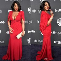 mangas douradas vestidos de noite venda por atacado-Niecy Nash Globo de Ouro Red Carpet Evening Dresses Cape Sleeve Sereia Profundo Decote Em V 2017 Mulheres Plus Size Formal Celebrity Dress Barato