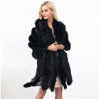 мех рождество плащ оптовых-Белый черный искусственный мех плащ пальто мода кружева мех лоскутное плащ элегантный дамы коктейль Шаль Рождественский подарок для нее CJG1010