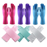 Wholesale Wholesale Color Satin Gloves - Multicolor Baby kids party satin gloves Performance festivals wedding gown Long sleeved gloves solid color for GIRLS BOYS 3-12T
