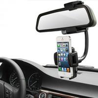 espejo de montaje universal al por mayor-Para Iphone 7 S8 Soporte de coche Soporte de coche Soporte universal para espejo retrovisor Teléfono celular Soporte de soporte GPS Soporte para auto Espejo de camión con caja al por menor