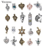 Wholesale Gold Plated Jewelry Supplies - 100pcs lot Hollowed Pearl Locket Jewelry Making Supplies Pearl Beads Cage Pendant Essential Oil Diffuser Trendy Locket VA-531