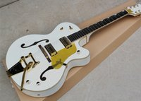 Wholesale Electric Guitar Hollow Body White - White Semi-Hollow Electric Guitar with Gold Hardware,Yellow Pickguard,White Binding,Offer Customized