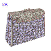 Оптовый-LaiSC Purple Box Diamond Women Clutch Bag Crystal Party Handbag Ladies Банковский кошелек Fashion Pochette Prom Evening bag SC452