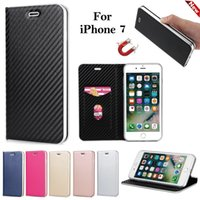 Luxus Ultra Thin Carbon Faser Magnetic PU Leder Brieftasche Card Slot Telefon Fall für Iphone 7 7plus 6S 6 Plus 5S Samsung S8 plus S8 S7 Edge S7