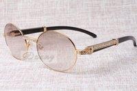 yuvarlak güneş gözlüğü stili unisex toptan satış-2019 yeni stil retro yuvarlak çerçeve yüksek kaliteli trendy Elmas Siyah Sığır boynuzları güneş gözlüğü T7550178 için unisex, boyutu: 57-22-135mm