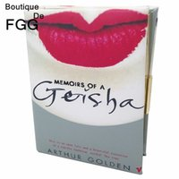 Wholesale Vintage Book Chain - Wholesale-Women Vintage Fashion GEISHA Sexy Lips Diary Book Metal Handbags Casual Day Clutches Chains Shoulder Crossbody Bags Clutch Purse