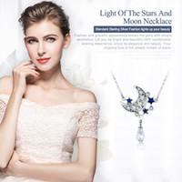 gerçek ay toptan satış-Bamoer Orijinal 925 Gümüş Ayışı Yıldız Yıldız Parıltılı Kristal Kolye Kolye Kadınlar İçin İnce Mücevher Hediyesi Scn110
