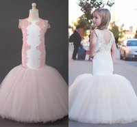 Wholesale Sexy Little Children - Mermaid Lace 2017 Arabic Flower Girl Dresses Crew Tulle Sexy Child Wedding Dresses Vintage Little Girl Pageant Dresses FG01