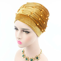 Wholesale Turbans Hats Scarves - New Luxury Woman Velvet Turban Headband Beaded Studded Pearled Extra Long Velvet Turban Head Wraps Hijab Head Scarf