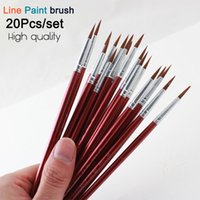 Wholesale Painting Memory - Memory 20Pcs Short Handle Artist Paint Brush Set Round Shape Nylon Hair Hook line Brush Set for Oil Watercolor Acrylic