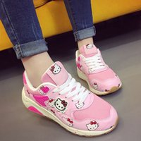 Wholesale Cartoon Ladies Shoes - TOP SALE New Women Lady Teens Students Fashion Casual Shallow Flat Cartoon Hello Kitty Kitten Pattern Sneakers Shoes Chaussures Zapatos C001