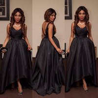 Wholesale taffeta robe - Luxurious Deep V-neck Black A-line Prom Dresses Zipper Back Taffeta Formal Prom Gowns Robe De Bal Party Evening Dresses
