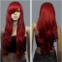 """Wholesale high quality red wig - Women Long Wavy Cosplay Wig Party Costume Dark Red 32"""" 80 Cm High Quality Synthetic Hair Wigs"""