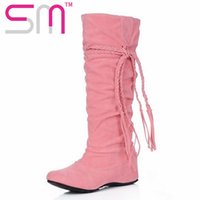 Wholesale Winter Hidden Wedges Shoes - Wholesale-big size 34-43 women knee boots vintage sexy spring fall shoes sexy cross bandage hidden wedges women knee boots for women