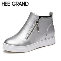 Wholesale Bling Platform Heels - Wholesale-HEE GRAND Woman Ankle Boots Height Increasing Bling Short Boots Zipper Round Toe Platform Shoes Casual Flat Heel Shoes XWX4364
