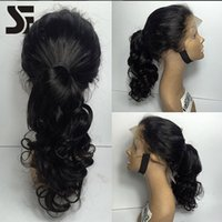 SF High Ponytail perruque de dentelle brésilienne avec cheveux bébé 100% Body Wave cheveux humains Glueless perruques à Black Women Virgin Hair Lace Front Perruques