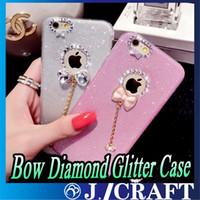 iphone yay elmas kapak toptan satış-Lüks yumuşak TPU Rhinestone Yay Elmas Glitter Telefon Kılıfı Için iPhone 6 6 artı iphone 7 Bling Arka Kapak Ücretsiz Kargo