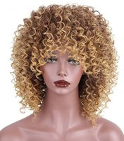 Wholesale Wigs Blonde Curly - Joy&luck Short Afro Kinky Curly Wig Mixed Brown and Blonde Color High Temperature Fiber Synthetic Wigs