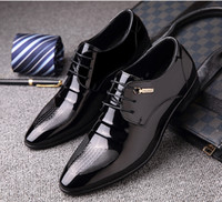 Wholesale High Heels Patent Lace - Fashion Patent Leather Men's Bussines Dress Shoes, Lace-Up Casual Men Flats Weddng Shoes , High Quality Men Derby Shoes