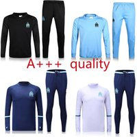 Wholesale new Top Thailand quality soccer tracksuit Marseille long sleeve adult Training suit pants football training clothes sports wear mens Sweater