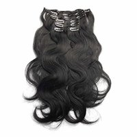 """Wholesale Thick Ombre Hair Extensions - Body Wave Clip in Human Hair Extensions 7Pcs 100g 14""""-22' Thick Full Head Wavy Clip in Human Hair Extensions #1 Jet Black Remy Clip in Hair"""